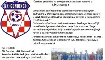 Juniori Nogometnog kluba Gundinci jesenski prvaci I.ŽNL-skupina 4